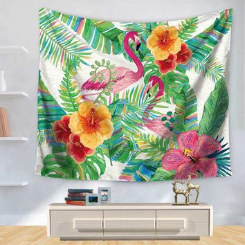 Green Leafy Flamingos Tapestry