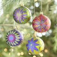 Glitter Flower Ball Ornaments