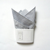 Pocket handkerchief pocket square by BartekDesign - white blue striped wedding grooms chic