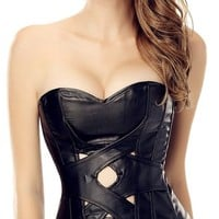 Women's Steampunk Punk Rock Bondage Cutout Faux Leather Corset Top