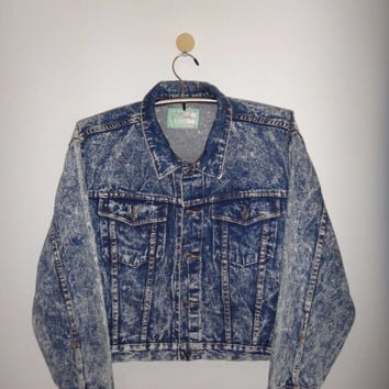 Vintage 1990s Holiday Out Jacket Denim Acid Wash Women's Clothing Steam Punk 90s Fashion Nice Look
