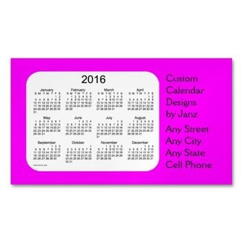 2016 Magenta Business Calendar by Janz Magnet Magnetic Business Cards (Pack Of 25)