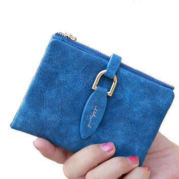 Korean Style Famous Brand Designer Women Short Wallet Faux Suede Leather Coin Bag Card Holder Lady Day Clutches Purses&Wallets