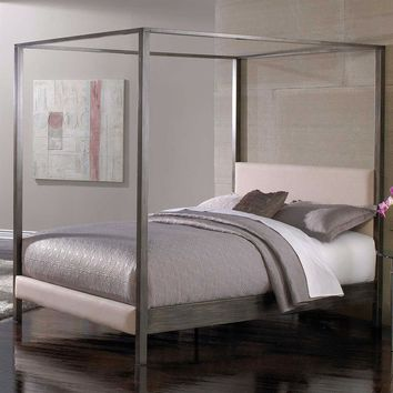 Queen size Modern Metal Platform Canopy Bed Frame with Upholstered Headboard and Footboard