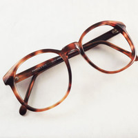 Dark Brown Tortoise Shell Eyeglasses, Big Glasses, Vintage Womens Eyeglasses, Preppy Glasses, NOS