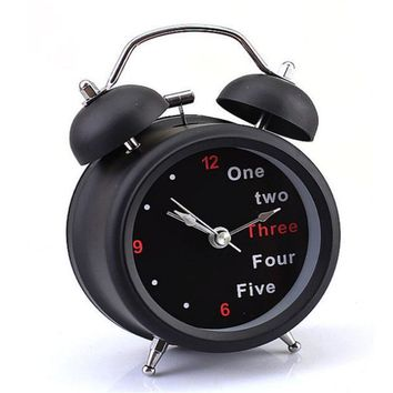 Happy home New Fashion Classic Number English Retro Double Bell Desk Table Alarm Clock 1PC
