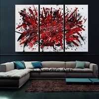 """Extra large wall art abstract Painting, 72"""" Red and Black Luxury Style Look Office Decor, Original Painting on Canvas, By Nandita Albright"""