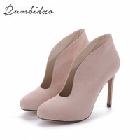2017 Women Pumps Shoes Woman Winter Boots Thin Heel High Heels Shoes  Ladies Genuine Leather  Shoes Zapatos Plus Size