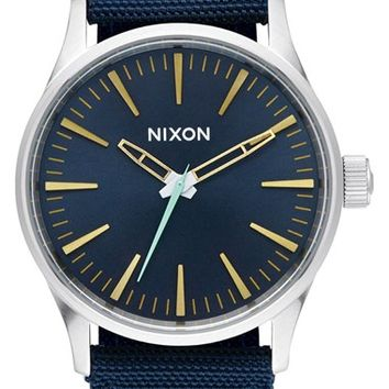Nixon 'The Sentry' Nylon Strap Watch, 38mm - Navy/ Silver/ Yellow
