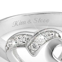 Personalized Sterling Silver Double Heart Couples Rings With Free Keepsake Box, Add Your Message