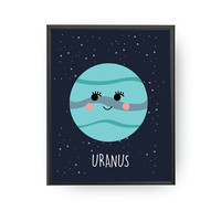 Uranus Poster, Kids Space Art, School Room Decor, Nursery Art, Solar System, Educational Art, Planet Art, Typography Poster, Kids Decoration