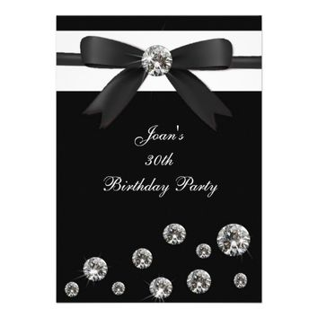 Birthday Party Invitation Black Diamond Bow Design