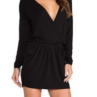 Black Deep V-Neck Long Sleeve Mini Dress