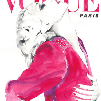 Archival Prints  of Watercolour Fashion Illustration.  Titled - Paris Vogue 1970