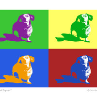 Dachshund Pop Art Print - 5x7 print - red, green, blue, purple, orange