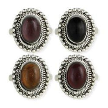 Silver Ethnic Oval Bead Adjustable Ring