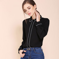 2017 Spring New Loose Notched Formal Shirts Women Simple Elegant Office Lady Black Blouse Stripe Full Sleeve Street Cool Blusas