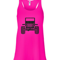 Pink and Black Glitter Jeep Girl Racer Tank Top