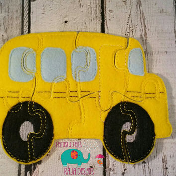 Felt school bus puzzle embroidered embroidery jigsaw puzzle learning toy, activity, quiet game, kids toys, montessori, homeschool, busy book