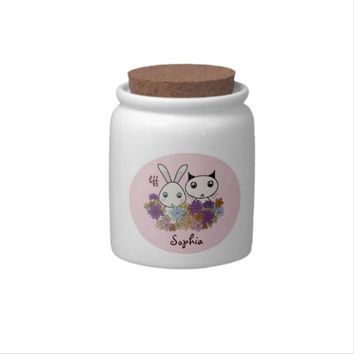 Cute Animal Personalized Pink Candy Jars for Girls: Kawaii Bunny and Kitten Name Template Cookie Jars