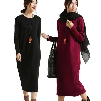 SCUWLINEN Winter Dress 2017 Vestido Women Dress Plus Size Velvet Thickening Thermal Basic Dress Long Sleeve Solid Warm Dress S59