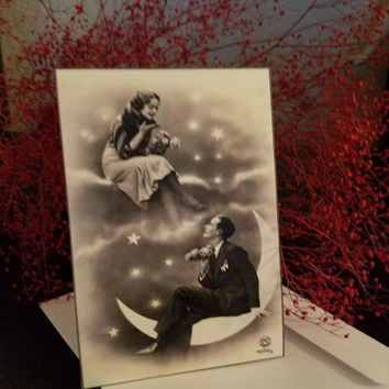Moon lovers vintage replica note card-set of 2
