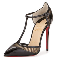 Christian Louboutin Mrs. Early T-Strap Red Sole Pump, Black