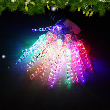 Free Shipping 20 LED Crystal Icicle AC220V Garden Outdoor String Light Decoration Halloween Holiday Wedding Birthday Lighting