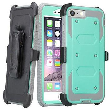 Apple iPhone 7 Plus Case / 6 Plus Case, Triple Protection 3-1 w/ Built in Screen Protector Heavy Duty Rotating Swivel Holster Shell Combo Case for iPhone 7Plus/6Plus - Teal