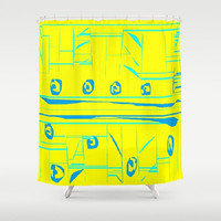 Yellow Aqua Turquoise Shower Curtain Yellow Tribal Abstract Shower Curtain Yellow Turquoise Shower Curtain Abstract Turquoise Shower Curtain
