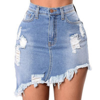 Mini Ripped Irregular Skirt