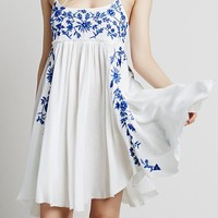 Blue Spaghetti Strap Embroidered Loose Dress -SheIn(Sheinside)
