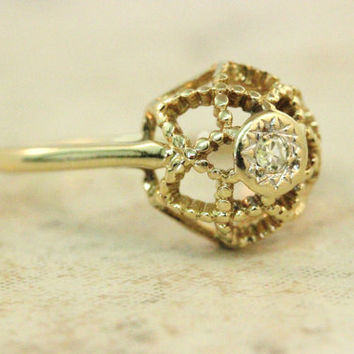 Vintage Gold Ring Diamond Ring 14k Yellow Gold Ring Estate Ring Promise Ring Right Hand Ring Flower Ring Size 6.5
