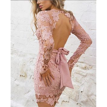 2018 New Fashion Hot Lady Formal Lace Dress Prom Evening Party Wedding Short Mini Dress