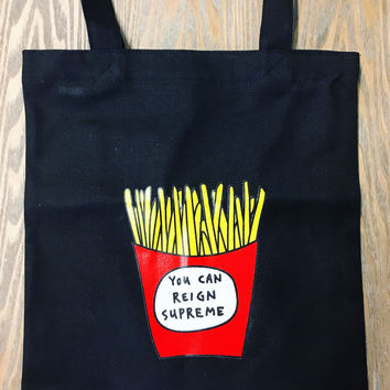 Fries Before Guys Tote in Black or White
