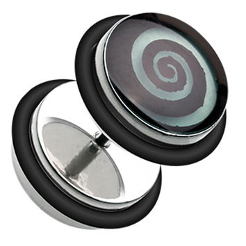 Glow in the Dark Hypnotic Swirl 316L Surgical Steel Fake Plug with O-Rings