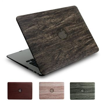 Retro PU wood grain series case for Apple macbook 11 12 13 15 inch Air Pro Retina cover bag new model A1706/A1707/A1708