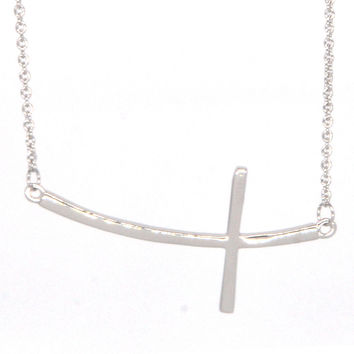 White Gold Plated Sideways Cross Necklace Pendant Necklace