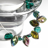 Green Leaves -  Czech glass beads -Leaf Beads -  Iris Emerald Green - 12 mm, 20 pcs - 3868