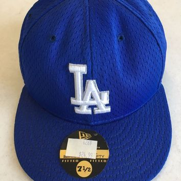 LOS ANGELES DODGERS MLB NEW ERA 5950 BLUE MESH FITTED HAT SHIPPING