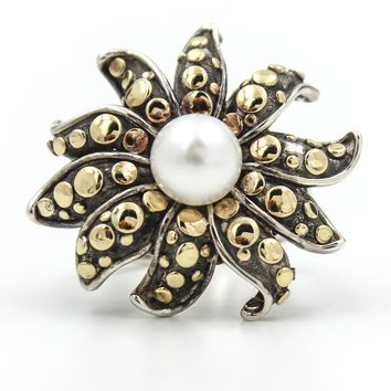 JOHN HARDY Pearl Flower Dot Ring in 18k Yellow Gold and Sterling Silver Size 5.5