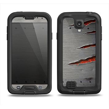 The Ripped Red-Core Metal Samsung Galaxy S4 LifeProof Fre Case Skin Set