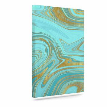 "Cafelab ""Light Water And Gold"" Teal Gold Abstract Celestial Mixed Media Painting Art Canvas"