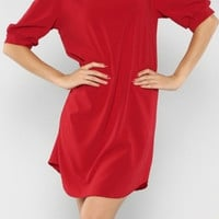 Red Solid Tunic Dress