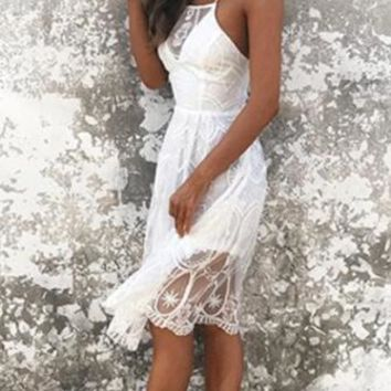 Always In Love White Sheer Lace Spaghetti Strap Sleeveless Square Neck X Back A Line Midi Dress