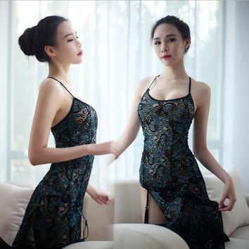 Women Lady Sexy Vintage Lace Slit Halter Cheongsam Suits Peacock Silk Stockings Sleeveless Spaghetti Strap Long Dress