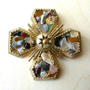 Vintage Maltese Cross Brooch - Maltese Cross Pin - Cross Jewelry - Vintage Brooch
