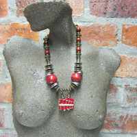 African Beaded Necklace - Handmade by South African artist Yoka Wright, Wood Backed Dyed Bone Bead, Chunky, African Ethnic Tribal Beads #83