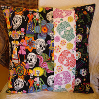 Day of the Dead Pillow Cover Sugar Skulls by KaysGeneralStore