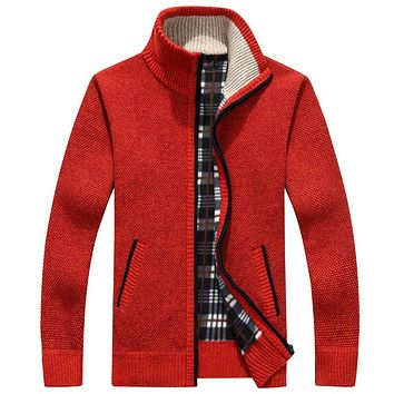 men cardigan sweater male turtleneck thermal fleece thicken casual loose knitted sweatercoat in black beige red brown
